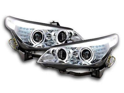 Bmw 5 Series E60 E61 2003 2004 Chrome Angel Eyes Led Xenon Headlights Rhd Headlight Assemblies External Lights Indi Bmw Bmw 5 Series Xenon Headlights