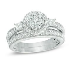 f7383c4efc07ca T.W. Round and Princess-Cut Diamond Flower Bridal Set in 10K White Gold