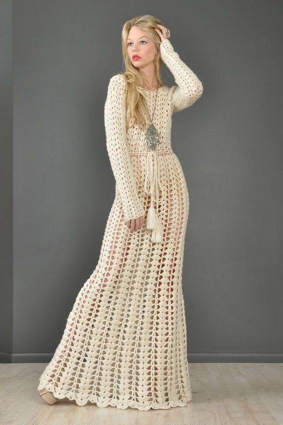 Crochet Long Dress Hot Chicks Crochet Long Dresses Vintage