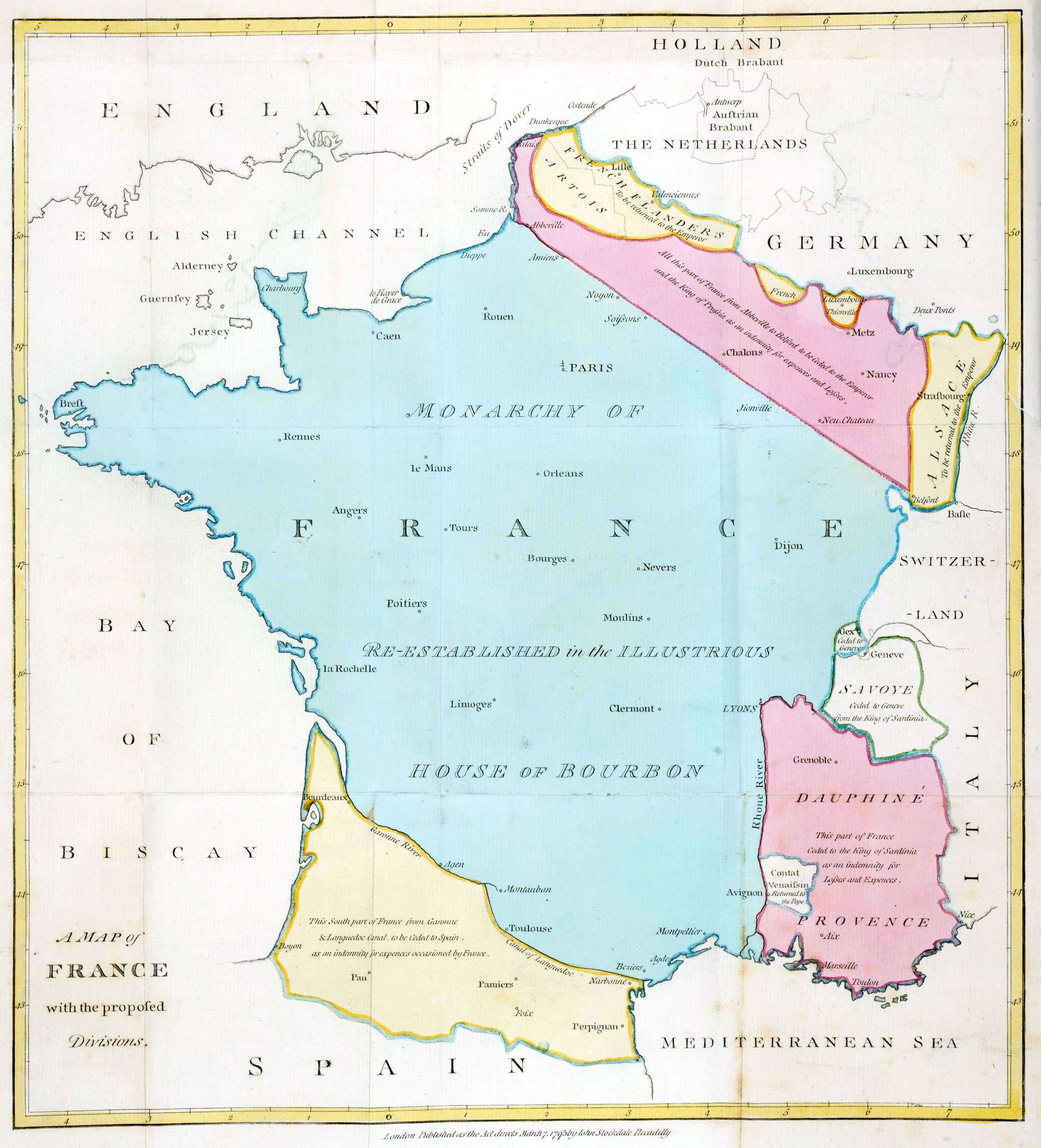 Divisions Of France Proposed By William Playfair In 1793 Map