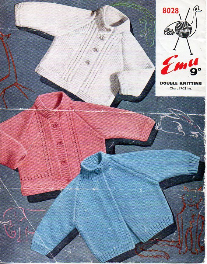 f1a97d4e47f8 baby jacket knitting pattern pdf DK baby cardigan high neck Vintage ...