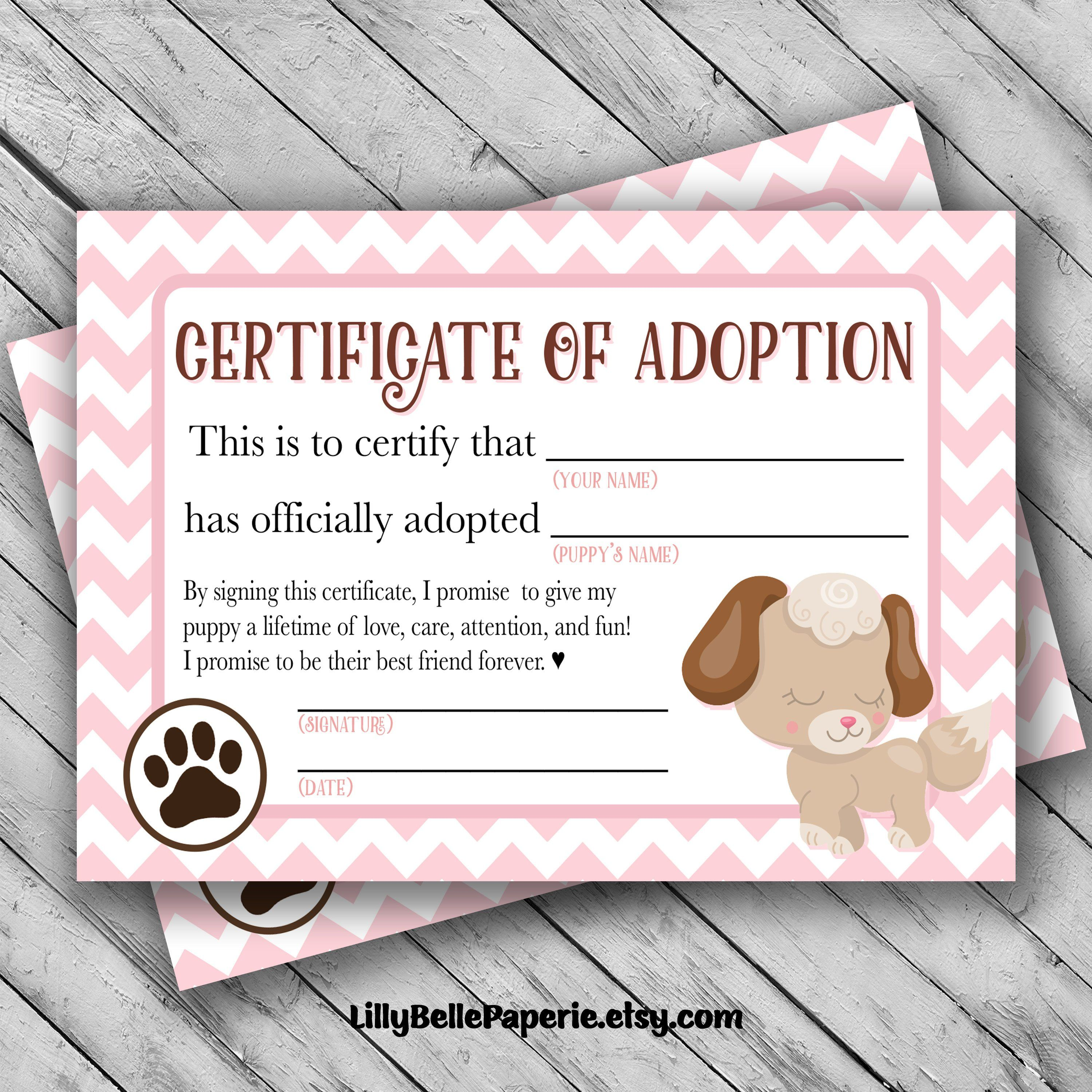 Printable Puppy Adoption Certificate Certificate Of Adoption