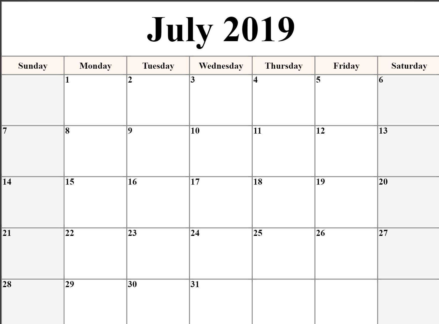 July Calendar 2019 Printable Editable A4 Landscape Portrait