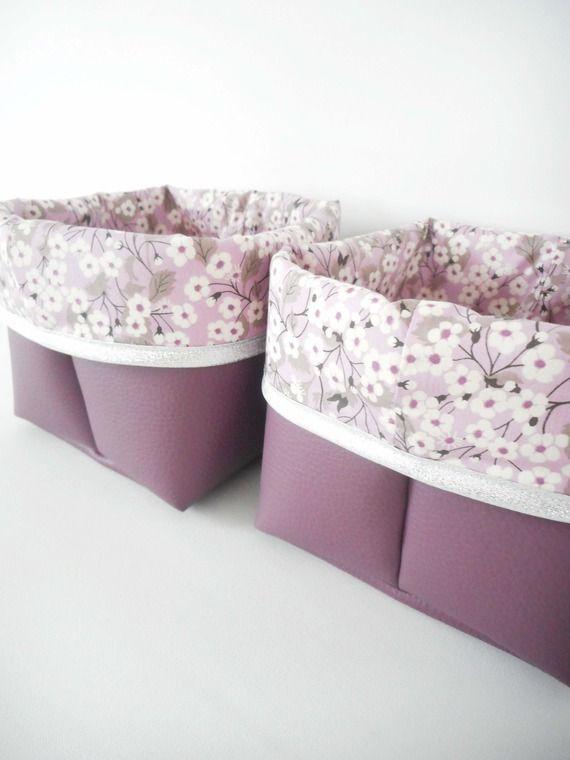 Panier De Rangement Petit Modele Simili Cuir Violet Et Tissu Etsy Simili Cuir Cuir Violet Panier Rangement
