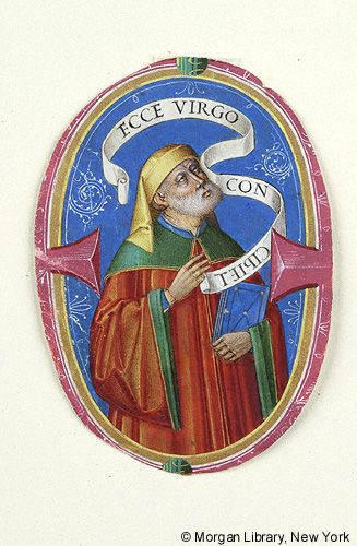 Isaiah, wearing hat, stands and holds book in left arm. Scroll, inscribed ECCE VIRGO CONCIPIET (with -CIPIET written backwards) encircles his head. Figure within initial E   Isaiah and Resurrected Christ   Italy, Padua   late 15th or early 16th century  The Morgan Library & Museum