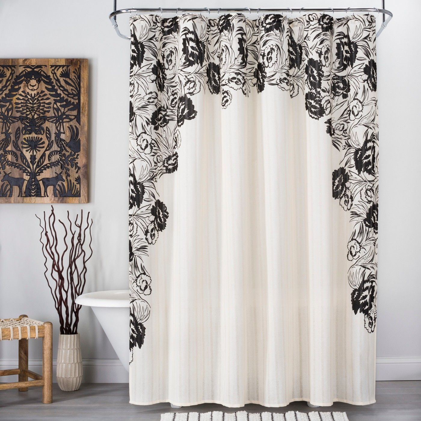 Floral Print Edged Shower Curtain Whiteblack  Opalhouse  Image