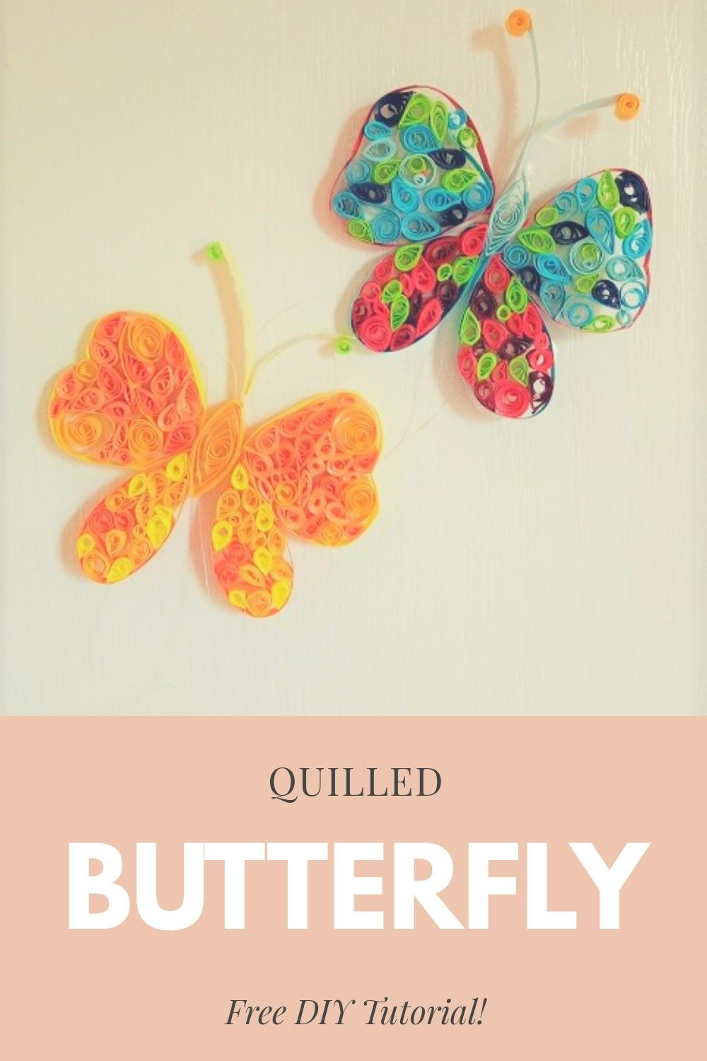 Create these butterfly window decorations. #quilling #papercraftideas #papercrafts #quillingideas #craftactivities