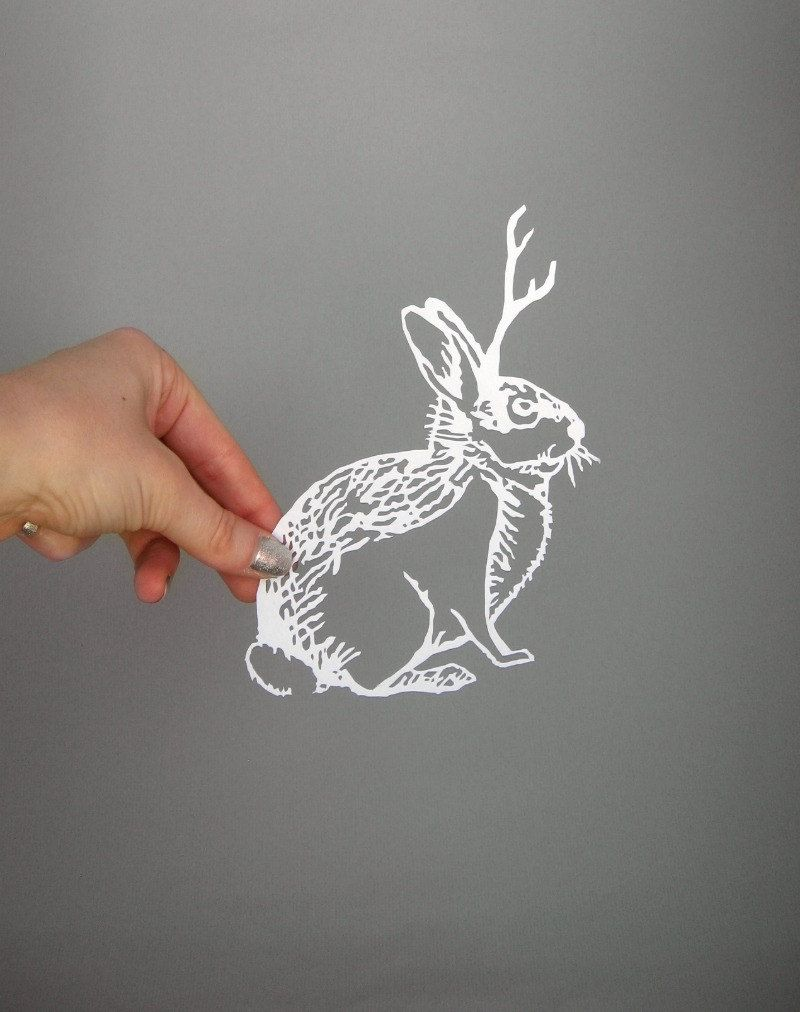 Paper-Cut Scherenschnitte Jackalope Cryptozoology in White MADE TO ORDER. $25,00, via Etsy.