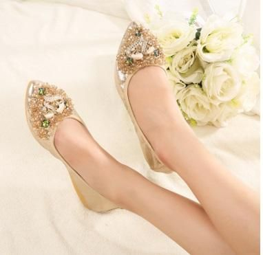 New Womens Fashion Style Ladies shoes Slip On Bridesmaid Dolly Shoes Pumps Size
