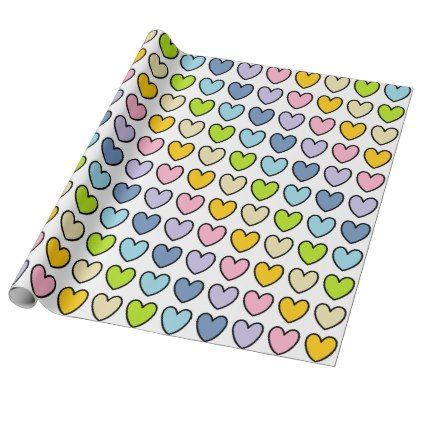 #pink - #Black Outlined Pastel Rainbow Hearts Wrapping Paper