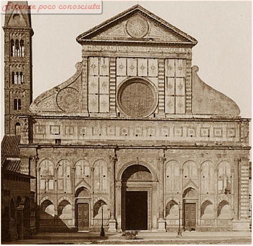 La bella facciata non ancora completata, notare il tamburo destro, verso il 1920, della chiesa di Santa Maria Novella