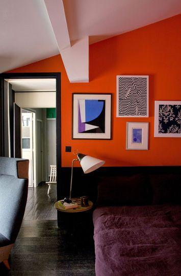 deco inspiration ambiance orange orangeisthenewblack peinture mur contemporain salon. Black Bedroom Furniture Sets. Home Design Ideas