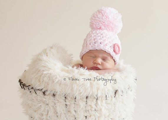 Newborn pink and white pom pom hat newborn photo prop newborn girl hat