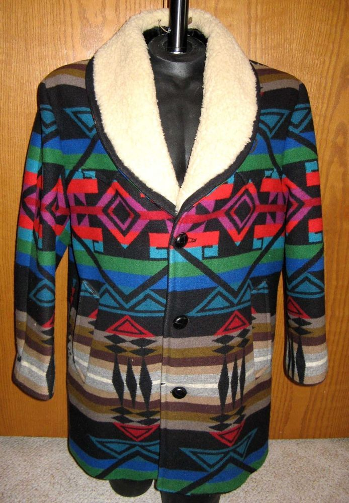47231b079 Pendleton High Grade Western Wear Aztec Indian Blanket Jacket Coat Men s Sz  44  Pendleton  BasicCoat