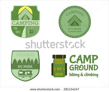 Adventure Outdoor Tourism Travel Logo Vintage Labels design vector templates. RV, forest holiday park, caravan. Camping Badges Retro style logotype concept icons set. Vector illustration