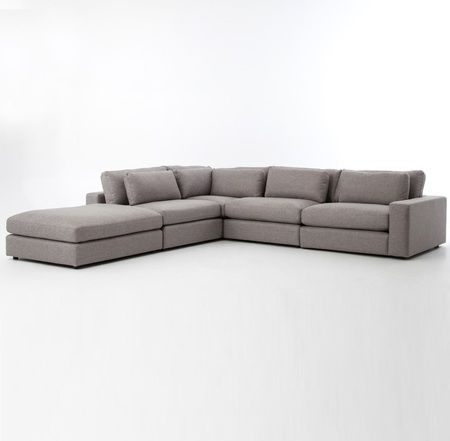 Bloor Gray Contemporary 5 Piece Corner Sectional Sofa In 2019