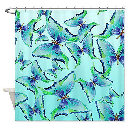 CafePress Butterfly Blues Pattern Shower Curtain - Standard White CafePress