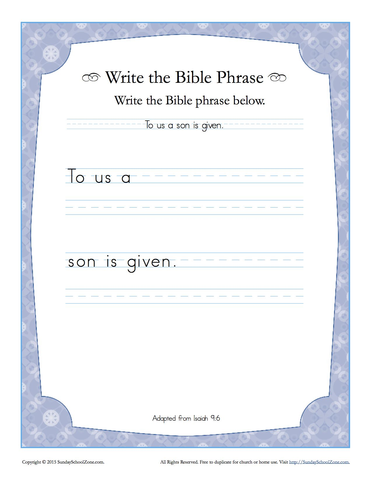 Isaiah 9 6 Write The Bible Phrase Worksheet