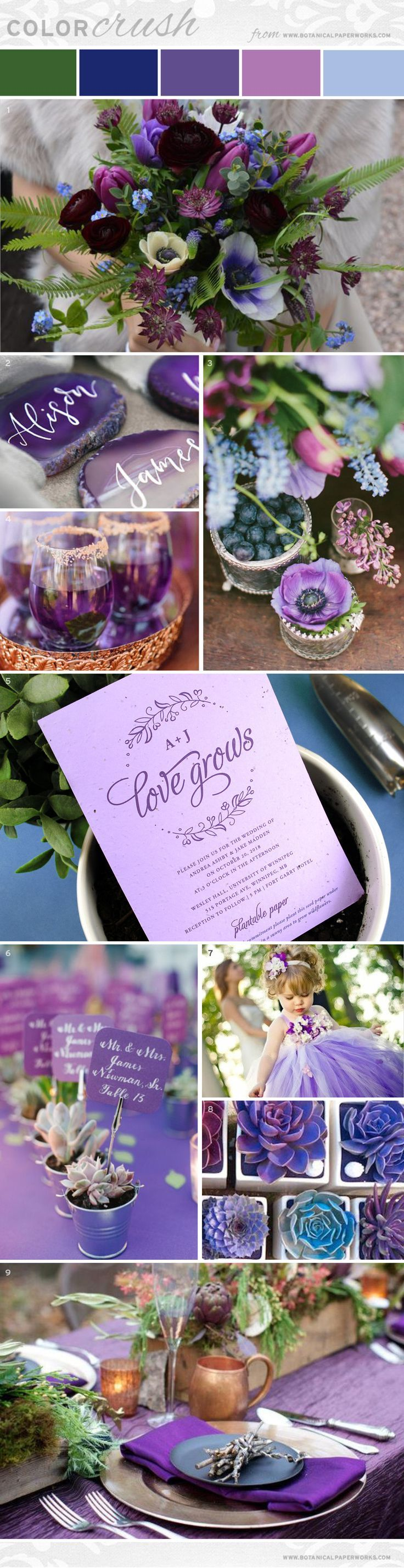 Ultra Violet is Pantone's Color of the Year for 2018 and is sure to be a hit for wedding season. Take a look at this imaginative palette pairing it with lilac, cool blues & rose gold accents.