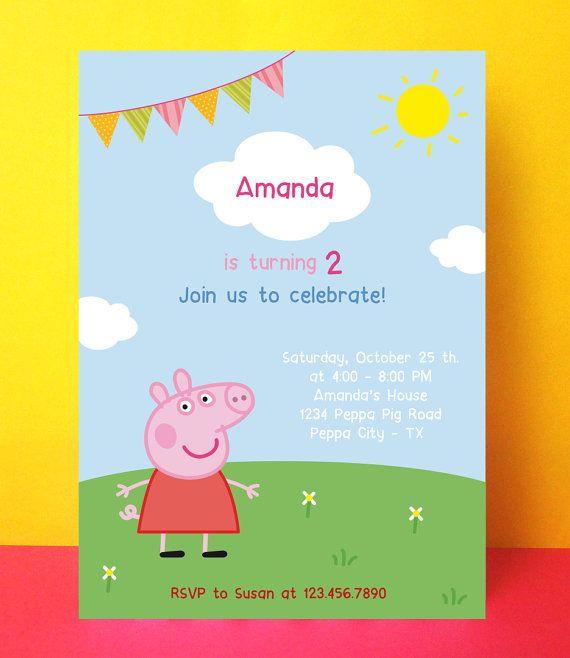 Peppa Pig invitation Peppa pig birthday by PaperPartyDesign – Invitation Card Design Birthday Party