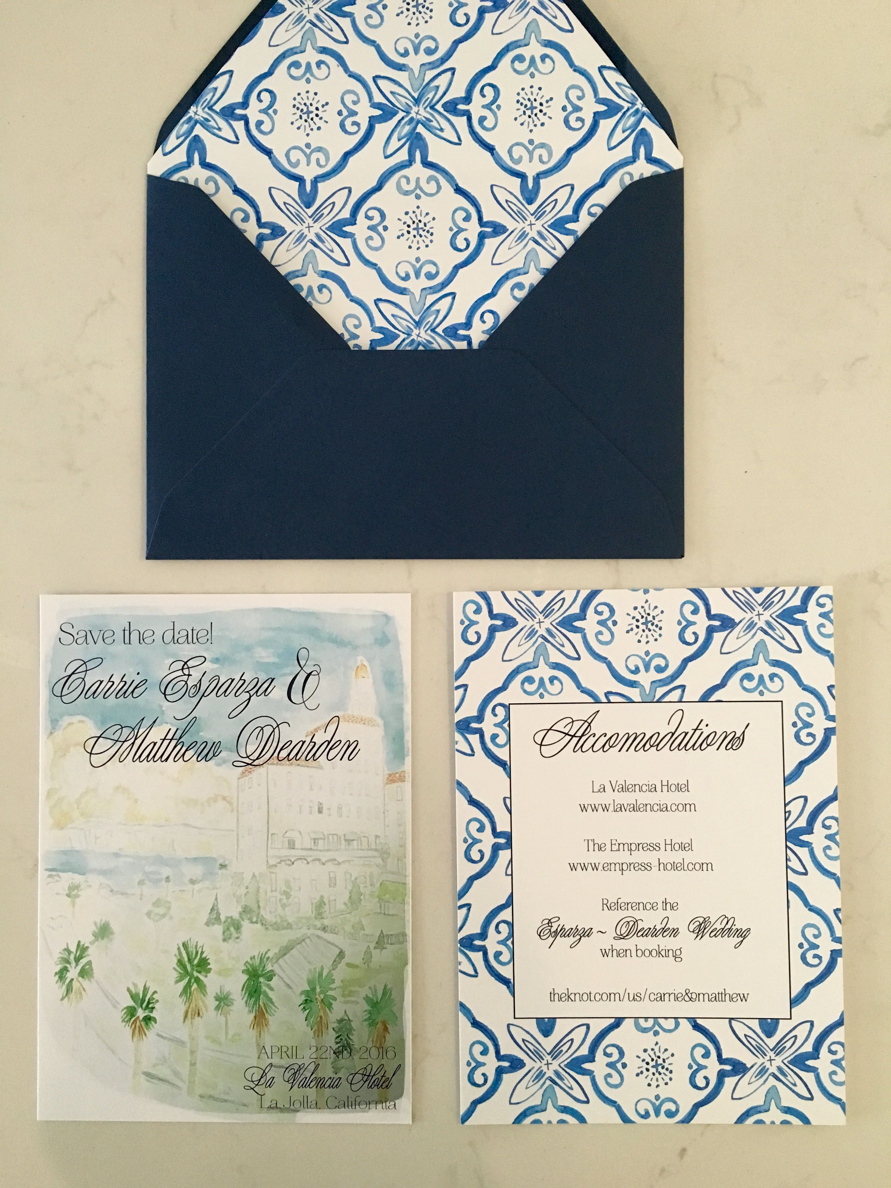 Watercolor save the dates/ Spanish tile envelope liner