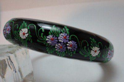 Vintage Hand Painted Lilac Flowers on Black Wood Bangle Bracelet SO COOL