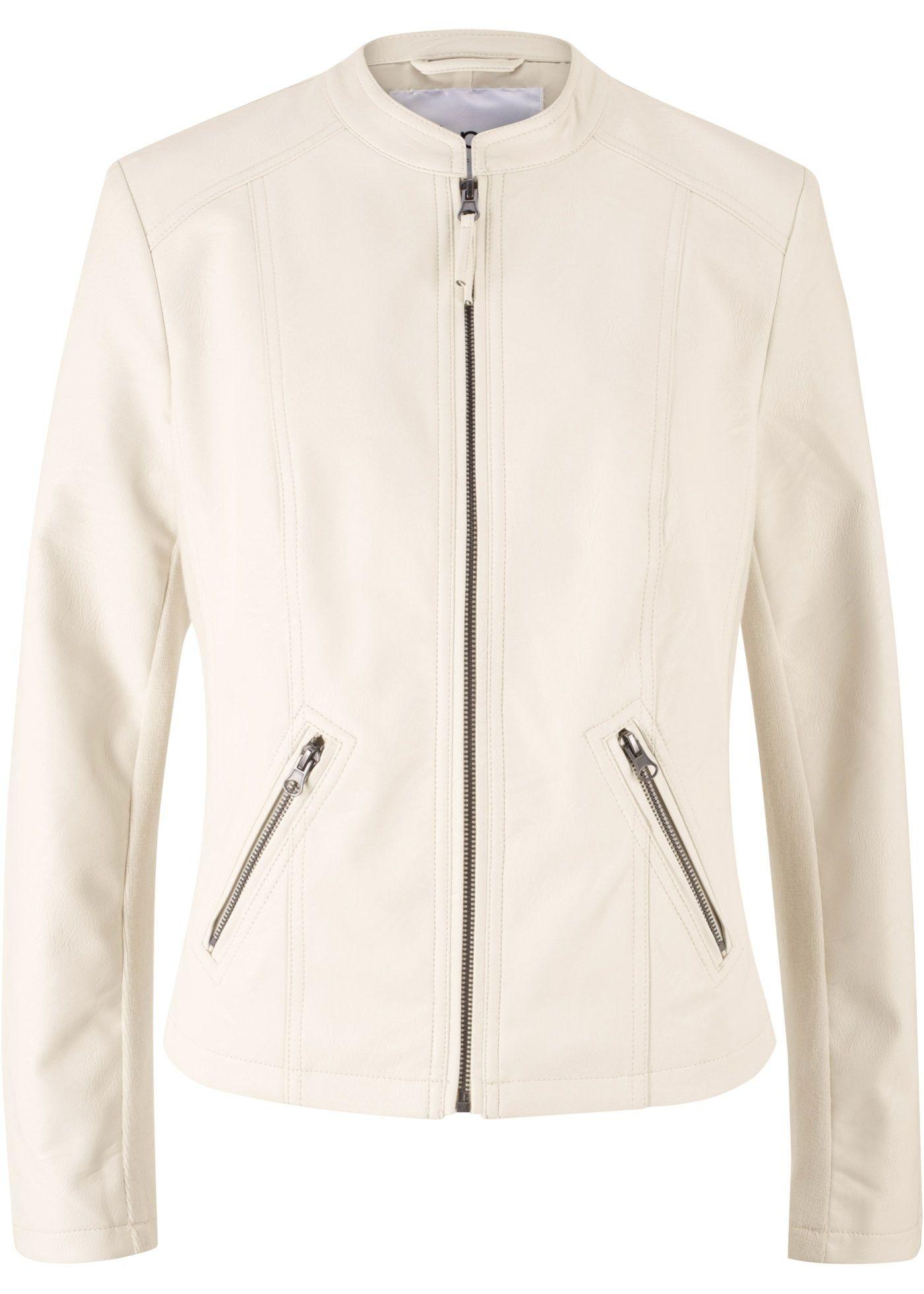 Taillierte Jacke aus Lederimitat mit Stehkragen | Products