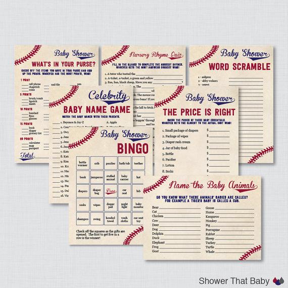 Baseball Baby Shower Games Package   Seven Printable Games: Bingo, Price Is  Right, Purse Game, Nursery Rhyme   Vintage Baseball Games 0027