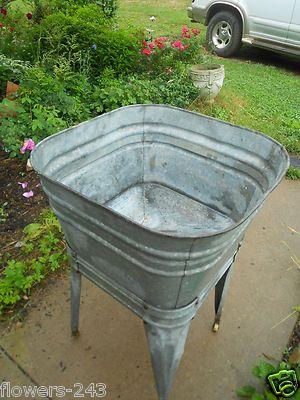 Vintage Wash Tub With Stand Hose Galvanize Steel Basin Leg Planter Primitive Wash Tubs Vintage Tub Rustic Accessories