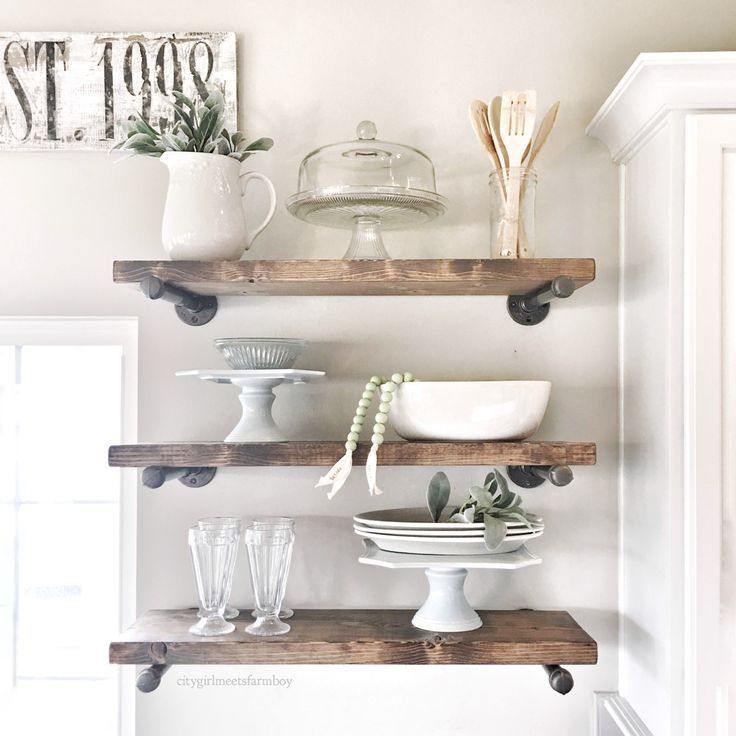 Do it yourself plumbers pipe shelf rustic wood shelves would love this in the new kitchen open shelving diy ideas solutioingenieria Choice Image