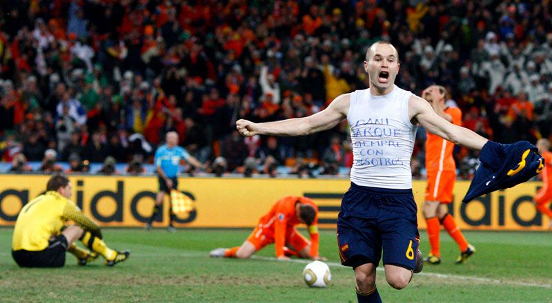This Goal Is For You Jarque Rip Iniesta Spain Worldchampion Southafrica2010 Fifa Football Iniesta World Cup