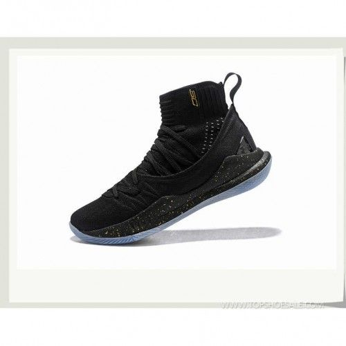 b2b681fe3a05 Under Armour Curry 5 Hight 1298307-001 Black Metallic Gold Black Basketball  shoes
