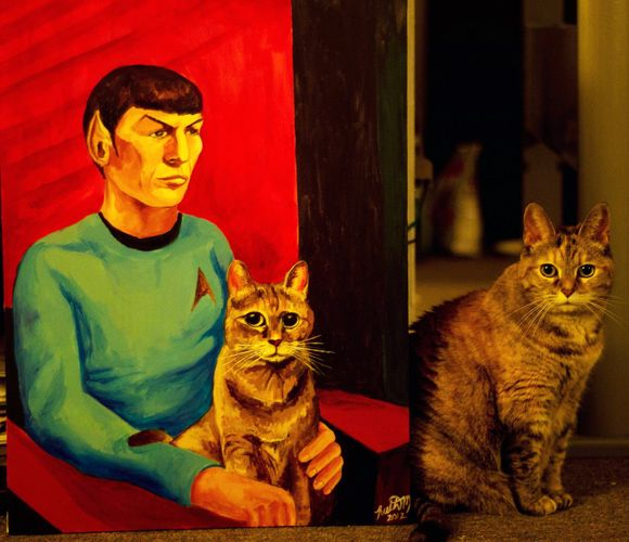 Custom portrait of your cat with your favorite celebrity. Only $250. I'm thinking Gladys with Christopher Walken.
