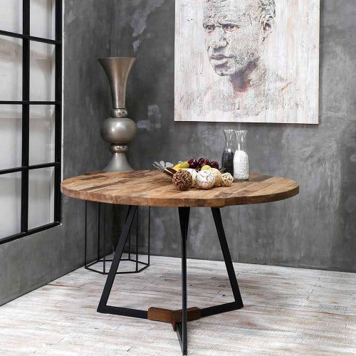Table Teck Et Metal Home Solutions O130cm Ronde Salle A Manger Table Ronde Table Ronde Cuisine Table Ronde Bois