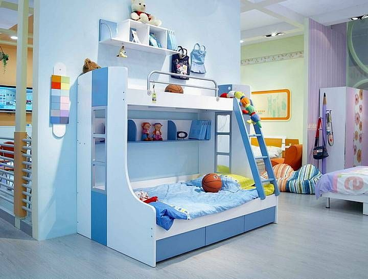 Stylish Blue Cheap Childrens Bedroom Sets With Bunk | Toddler