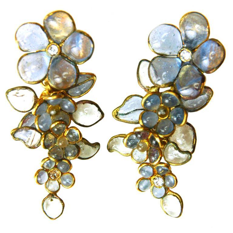 Chanel Gripoix Camellia Flower Earrings 1stdibs Com Jewelry Chanel Jewelry Chanel Earrings