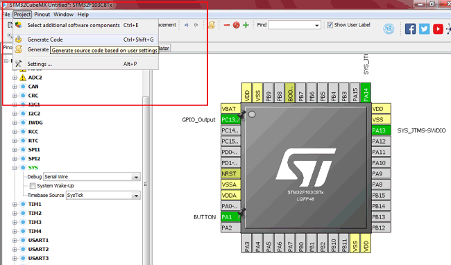 Generate Code for Programming STM32F103C8 using STM32CubeMX