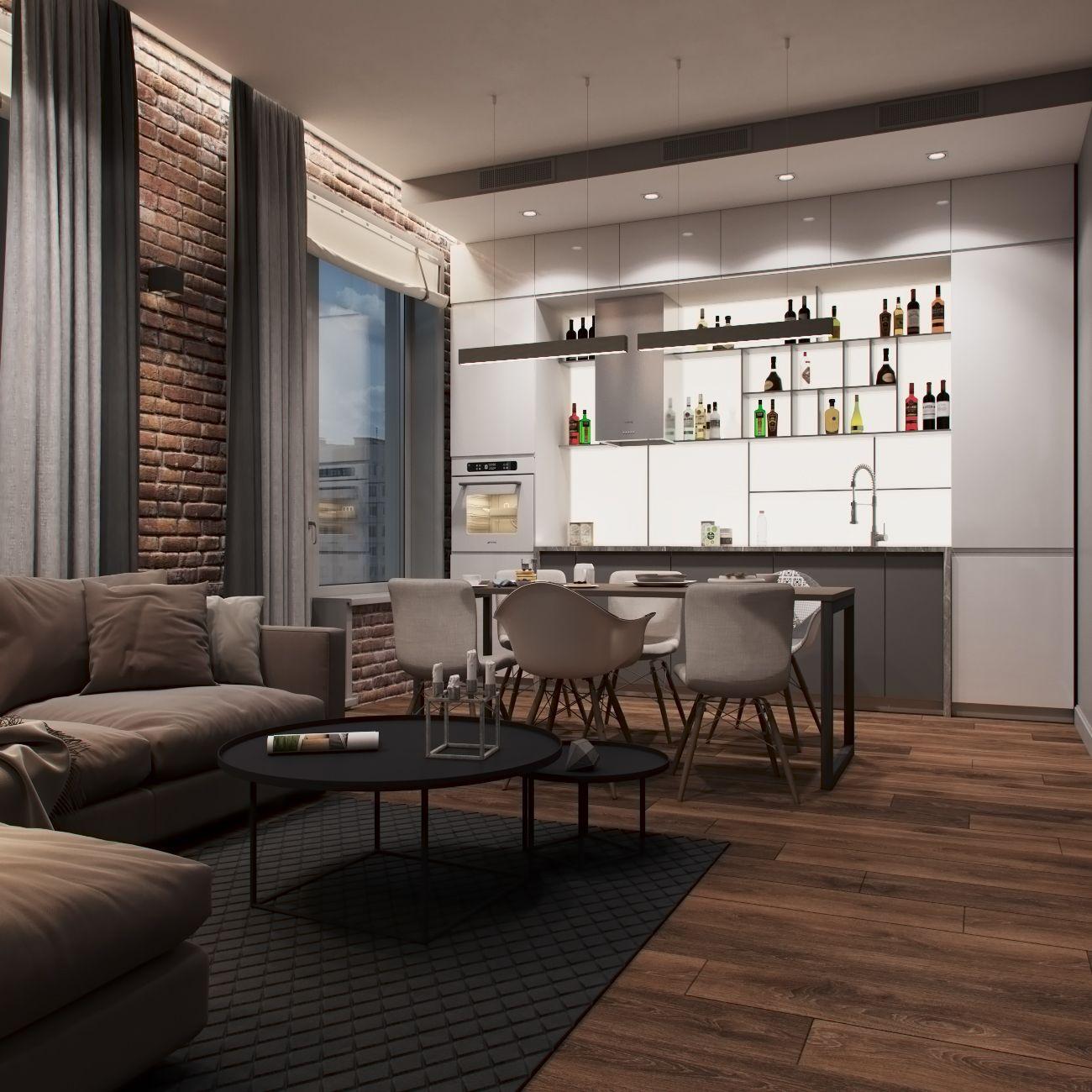 Cheap Loft Apartments: Квартира_Ди76 м2Дизайн: Волкова Арина, @arixavol3dmax