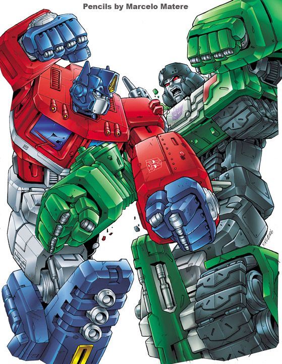 """""""Colored final art (over Marcelo Materes pencils) for Classics series Optimus Primevs. megatron DVD cover illustration for pack-in with toy 2 pack."""""""