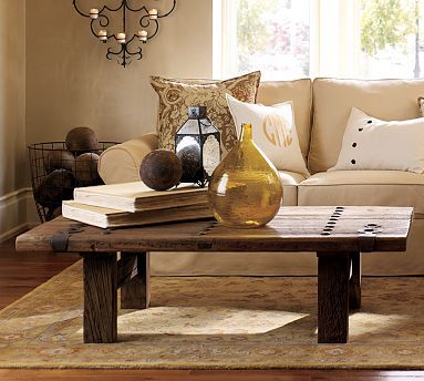 Pottery Barn They Used A Reclaimed Wood Door Could Recreate Something Similar For An Outdoor Coffee Table Pottery Barn Pottery Barn Living Room Coffee Table