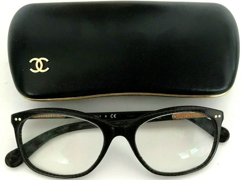 CHANEL Eyeglass Frames ITALY 53 Lens GRAY/BLACK CC