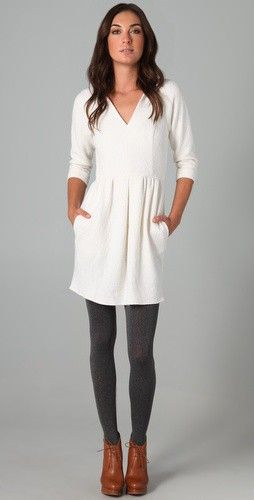 White Dress + Grey/Gray Tights/Leggings + Tan/Camel/Cognac Booties