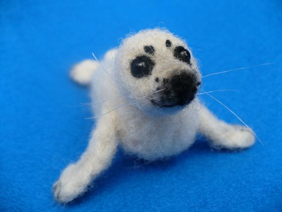 Needle felted Collectible Baby Seal pup OOAK by grannancan on Etsy, $35.00  Look at those eyes!