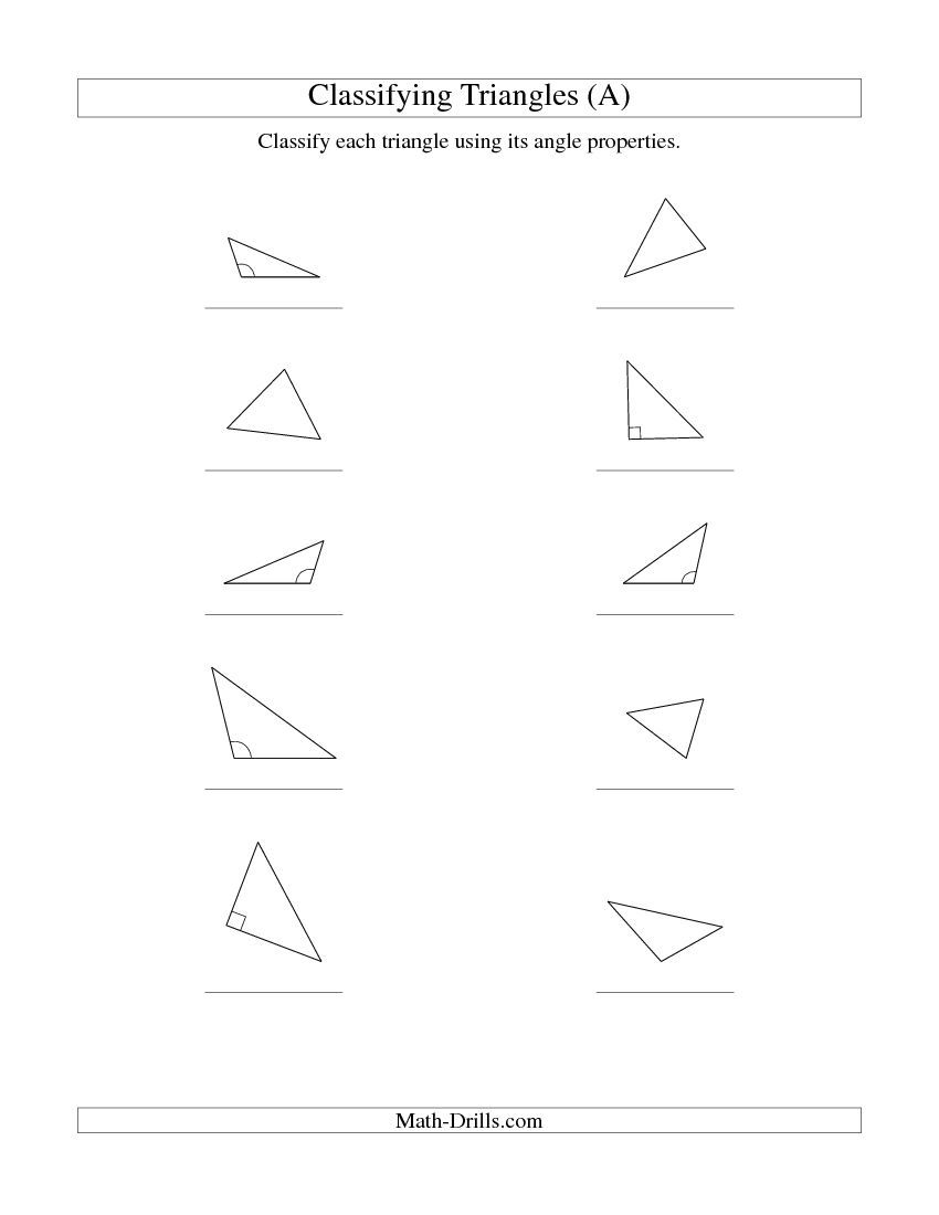Worksheets Classifying Triangles Worksheet classifying triangles by angle properties a teaching math a