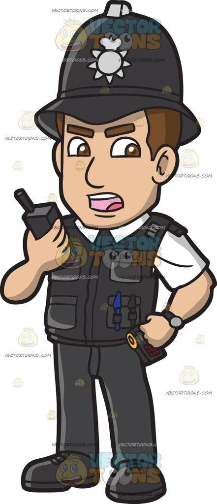 A British Police Constable Cartoon Dragon Black Shirt Two Way Radio