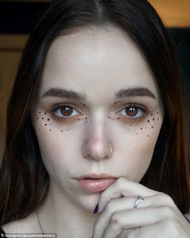 Spot the sparkle glitter freckles the latest make up trend war making them pop jacqueline b allowed her burgundy and silver freckles to pop by going ccuart Choice Image