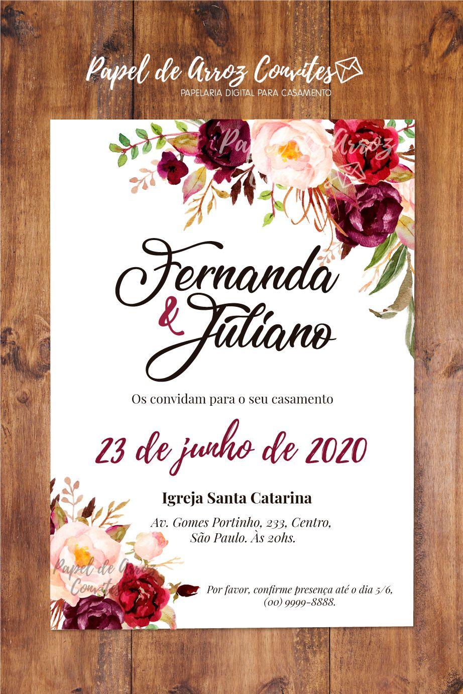 Convite Floral Marsala Modelo Convite De Casamento Convite De