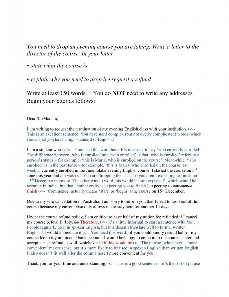 An IELTS candidate attempts a letter that explains reasons for ...