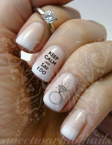 Wedding Nail Art Keep Calm And Say I Do Water Decals Transfers Wraps