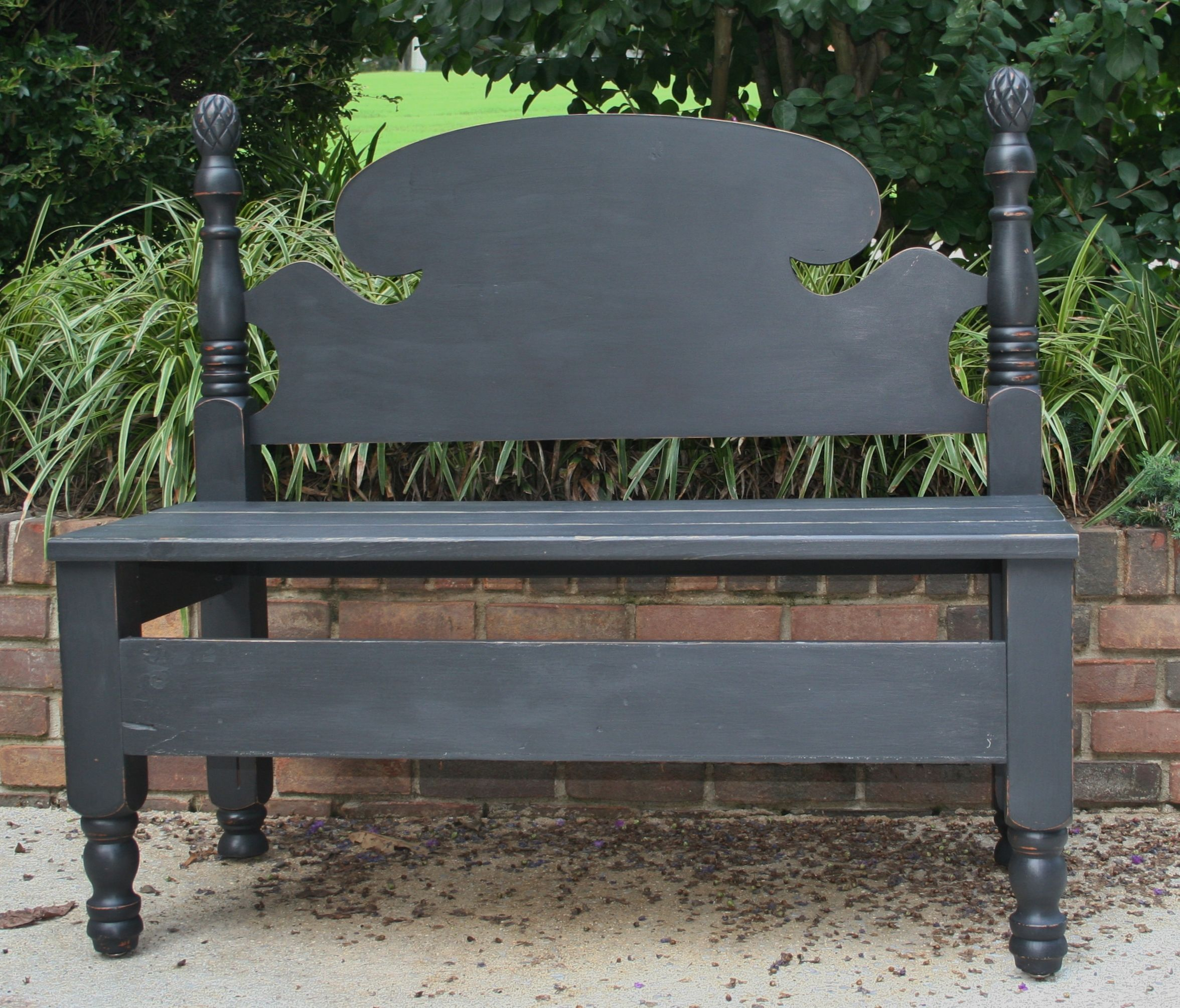 Bench made from old pineapple bed frame. Painted with ...